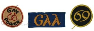 Three Original Gay Pride Patches: Gay Power, 69, GAA. Gay Activists Alliance