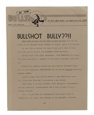 Bullshot Bully??!! [Los Angeles Gay Bar Flier]. Gay Bars