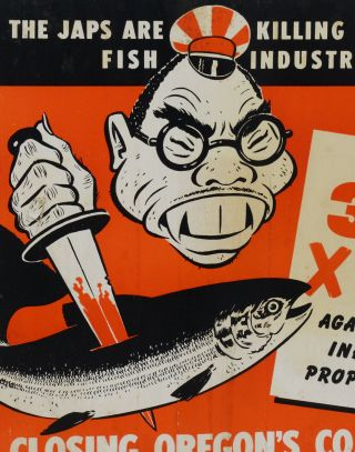 (Anti-Japanese WWII-era poster) The Japs are killing Alaska's fish industry