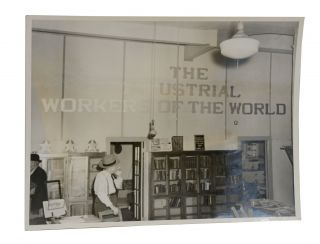 Three photos of an Industrial Workers of the World bookstore
