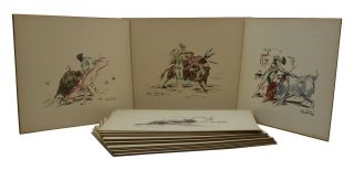 A Set of 18 Bullfighting Lithograph Prints Hand-colored by Roberto Domingo y Fallola. Roberto...