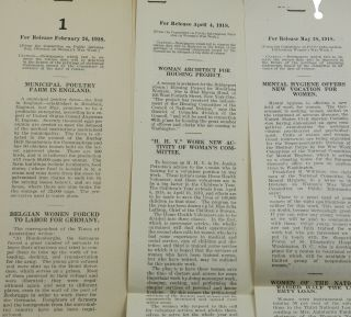 [WWI Propaganda] Archive of approximately 450 press releases from the Creel Committee (also known as Committee on Public Information), Division of Women's War Work
