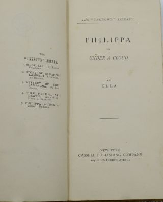 """Philippa: Or, Under a Cloud (The """"Unknown"""" Library)"""