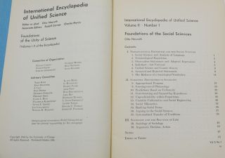 Foundations of the Social Sciences (International Encyclopedia of Unified Science, Volume II Number 1)
