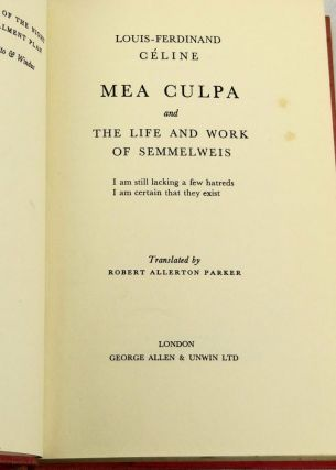 Mea Culpa & The Life and Works of Semmelweis