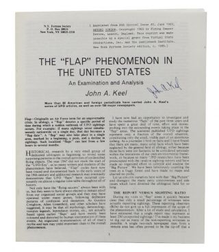 "The ""Flap"" Phenomenon in the United States. John Keel"