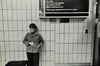 Bus station characters and travellers circa 1972, probably New York in seven black-and-white photos by an unknown photographer