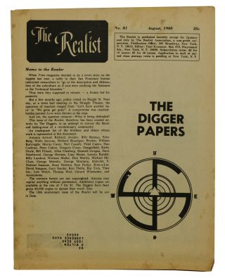 The Digger Papers in The Realist No. 81 August, 1968. The Diggers, Paul Krassner