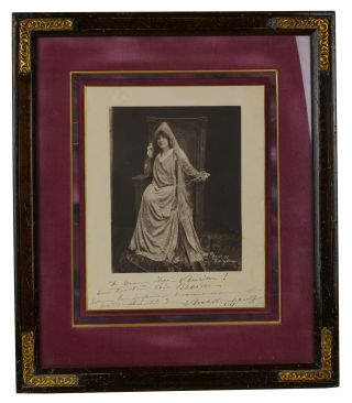 Signed framed photo of Sarah Bernhardt. Sarah Bernhardt, Unknown Photographer